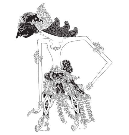 Kartanadi, a character of traditional puppet show, wayang kulit from java indonesia. Illustration