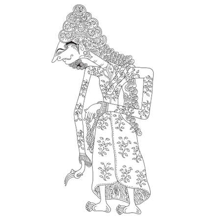 Kanwa, a character of traditional puppet show, wayang kulit from java indonesia. Illustration