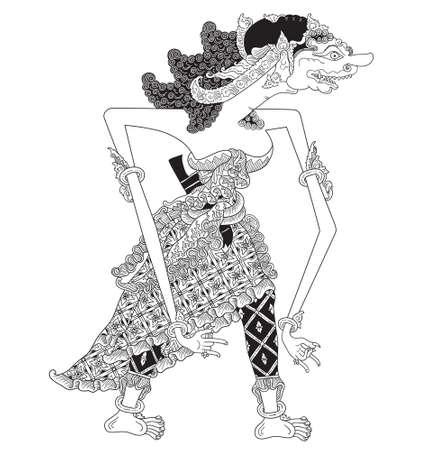 Kenyawandu, a character of traditional puppet show, wayang kulit from java indonesia.