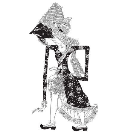 Kesawasidi, a character of traditional puppet show, wayang kulit from java indonesia.
