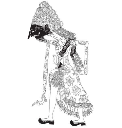Kimindama, a character of traditional puppet show, wayang kulit from java indonesia.