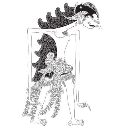 Kirata, a character of traditional puppet show, wayang kulit from java indonesia. Illustration