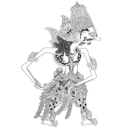 Kiswaka, a character of traditional puppet show, wayang kulit from java indonesia. Illustration
