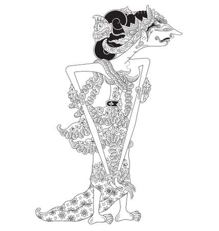 Krepi, a character of traditional puppet show, wayang kulit from java indonesia. Çizim