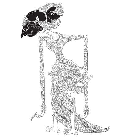 Kunti, a character of traditional puppet show, wayang kulit from java indonesia.