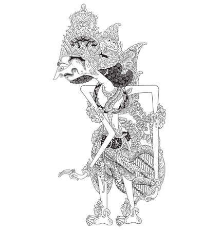Kuntiboga, a character of traditional puppet show, wayang kulit from java indonesia. Illustration