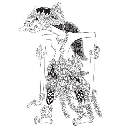 Leksmana Mandrakumara, a character of traditional puppet show, wayang kulit from java indonesia.
