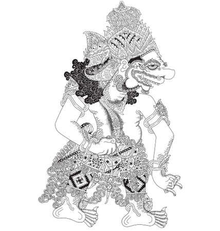 Kurandageni, a character of traditional puppet show, wayang kulit from java indonesia.