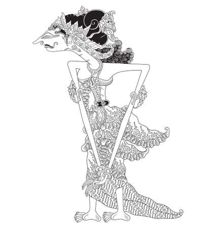 Madrim, a character of traditional puppet show, wayang kulit from java indonesia.