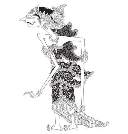 Maerah, a character of traditional puppet show, wayang kulit from java indonesia.