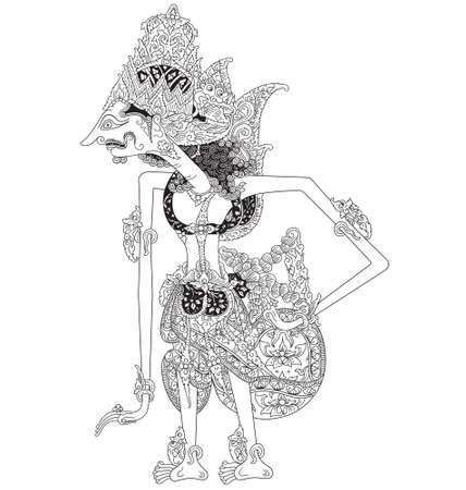 Mandradipa, a character of traditional puppet show, wayang kulit from java indonesia.