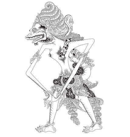 Mayangga Seta, a character of traditional puppet show, wayang kulit from java indonesia. 일러스트