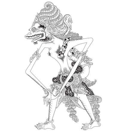 Mayangga Seta, a character of traditional puppet show, wayang kulit from java indonesia. 일러스트