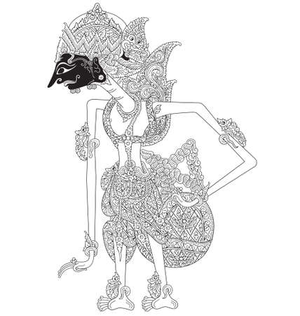 Matswapati, a character of traditional puppet show,  from Indonesia. Ilustracja