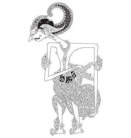 Pandu, a character of traditional puppet show, wayang kulit from java Indonesia.