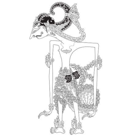 Prabakusuma, a character of traditional puppet show, wayang kulit from java indonesia. Vector illustration. Stock Illustratie