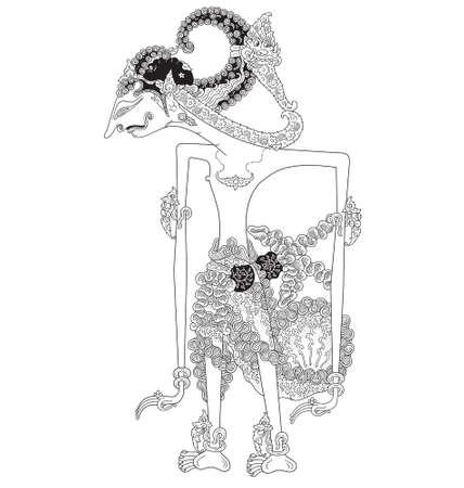 Prabakusuma, a character of traditional puppet show, wayang kulit from java indonesia. Vector illustration. Illustration