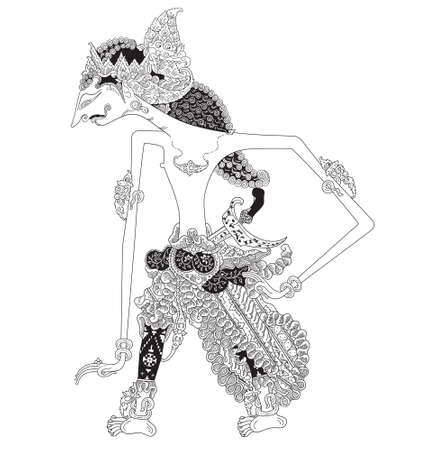 Parikesit, a character of traditional puppet show, wayang kulit from java indonesia. Illustration