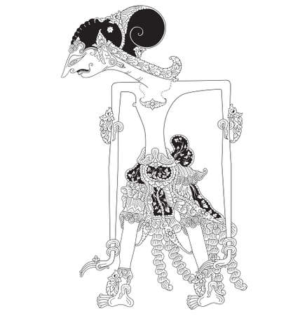 Pancawala, a character of traditional puppet show, wayang kulit from java Indonesia.
