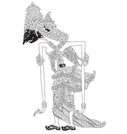Pratiwi, a character of traditional puppet show, wayang kulit from java indonesia.