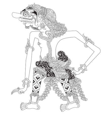 Pragota, a character of traditional puppet show, wayang kulit from java indonesia. Illustration