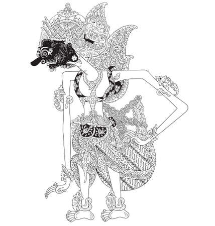 Pratipa, a character of traditional puppet show, wayang kulit from java indonesia. Illustration
