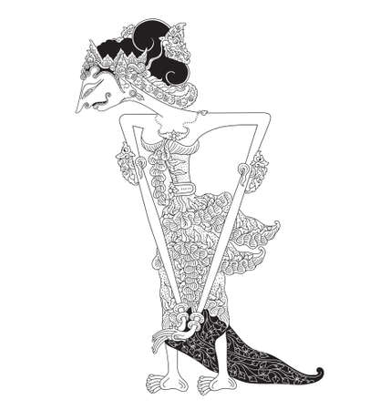 Retna Kasimpar, a character of traditional puppet show, wayang kulit from java indonesia. Vector illustration.