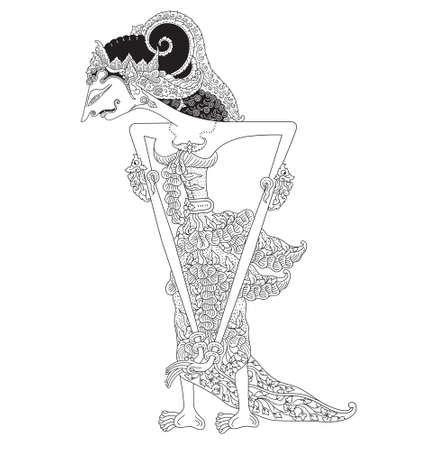 Ratri, a character of traditional puppet show, wayang kulit from java indonesia. Vector illustration.