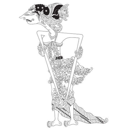 Rasawulan, a character of traditional puppet show, wayang kulit from java indonesia. Vector illustration.