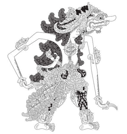 Rajamala, a character of traditional puppet show, wayang kulit from java indonesia. Vector illustration. Illustration