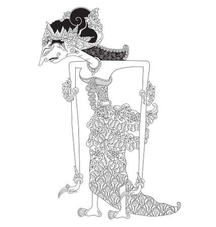 Sarmista, a character of traditional puppet show, wayang kulit from java indonesia.