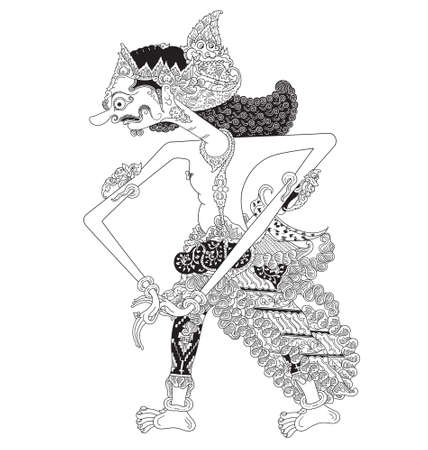 Tambakgangeng, a character of traditional puppet show, wayang kulit from java indonesia.