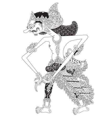 Tambakgangeng, un personaje del espectáculo de marionetas tradicional, wayang kulit de java indonesia.