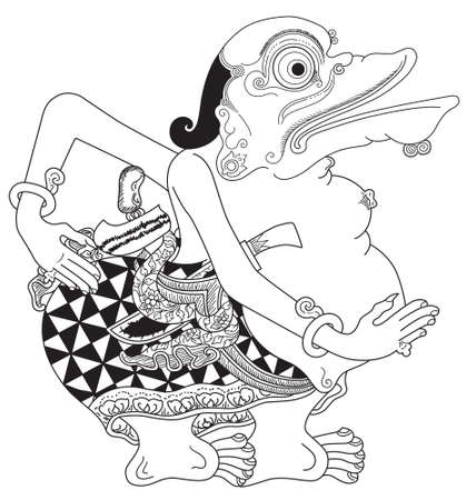 Togog, a character of traditional puppet show, wayang kulit from java indonesia. Illustration