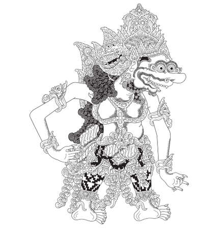 Tremboko, a character of traditional puppet show, wayang kulit from java indonesia. Illustration