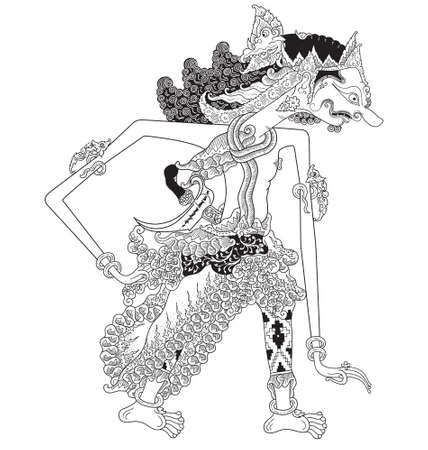Tuhayata, a character of traditional puppet show, wayang kulit from java indonesia.