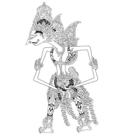 Watugunung, un personaje del espectáculo de marionetas tradicional, wayang kulit de java indonesia.