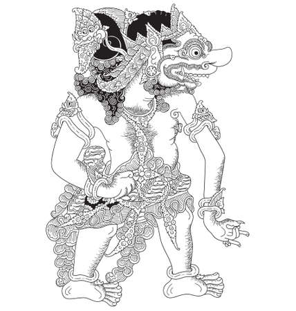 Wahmuka, a character of traditional puppet show, wayang kulit from java indonesia.