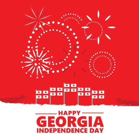 Georgia independence day vector illustration with flags and fireworks. Eastern Europe and Western Asian national day greeting card.