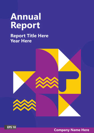 Business vector for report cover with dark blue color and geometric shapes. Corporation graphic resources for publications. Vektoros illusztráció