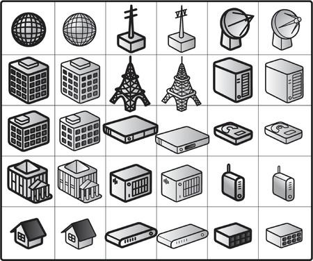 hub: ic�nes de vecteur pour la structure # la radio de r�seau