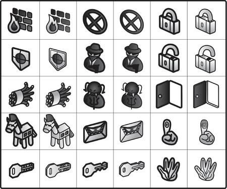 spy ware: vector icons for network structure #security Illustration