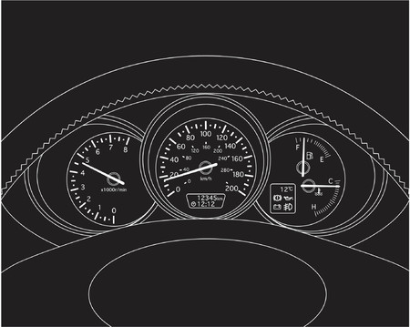 trafic: Vector illusrated three windows dashboard