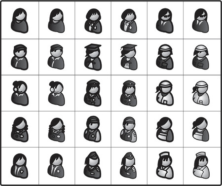 guardsman: Icons for network structure. bussiness women2 Illustration