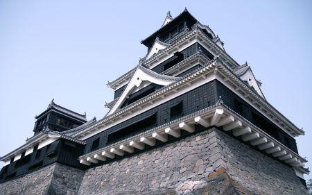 Japanese huge black castle in kumamoto Editorial