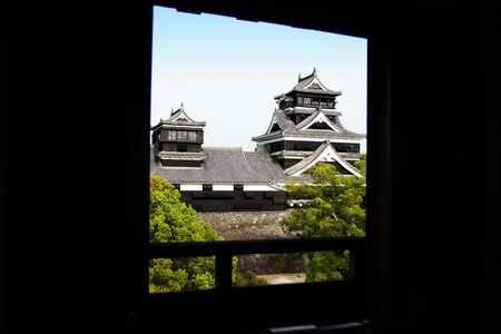 Japanese huge black castle window view Stock Photo - 828878