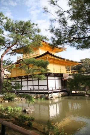 Japan golden temple in Kyoto Kinkakuji Editorial