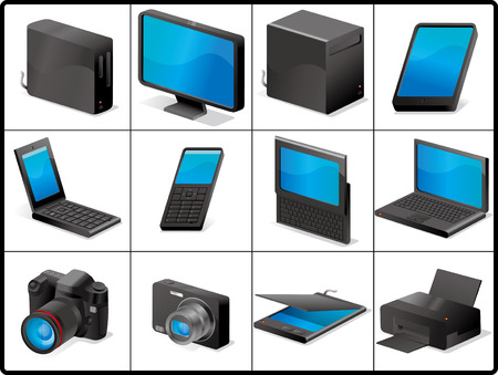 computer and devices for structure like 3D (BLACK) Stock Vector - 8285409