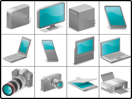 computer and devices for structure like 3D (SILVER) Illustration