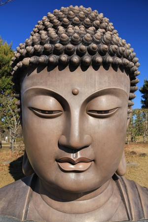 a statue of Buddhas head in Ushiku Stock Photo